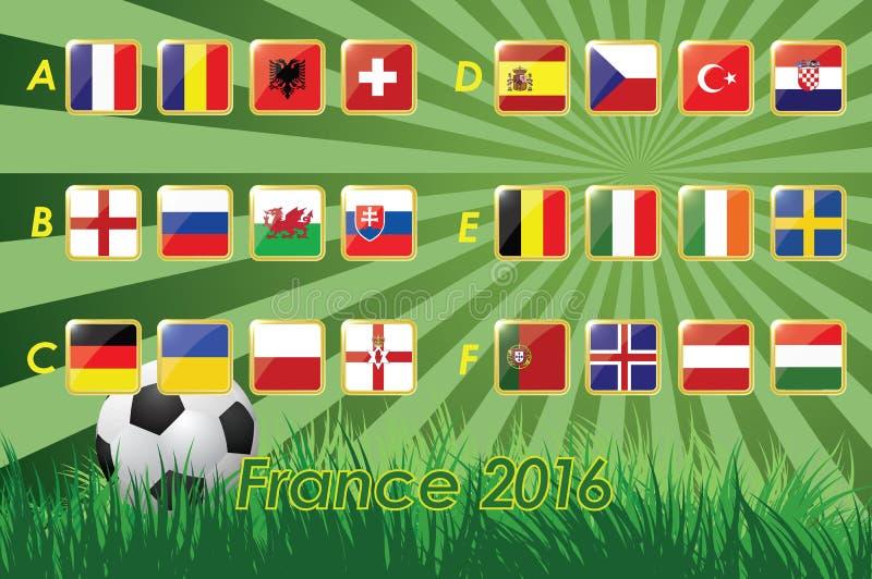 Drapeaux de l'euro 2016 sur le fond et le ballon de football d'herbe 24 nations illustration de vecteur
