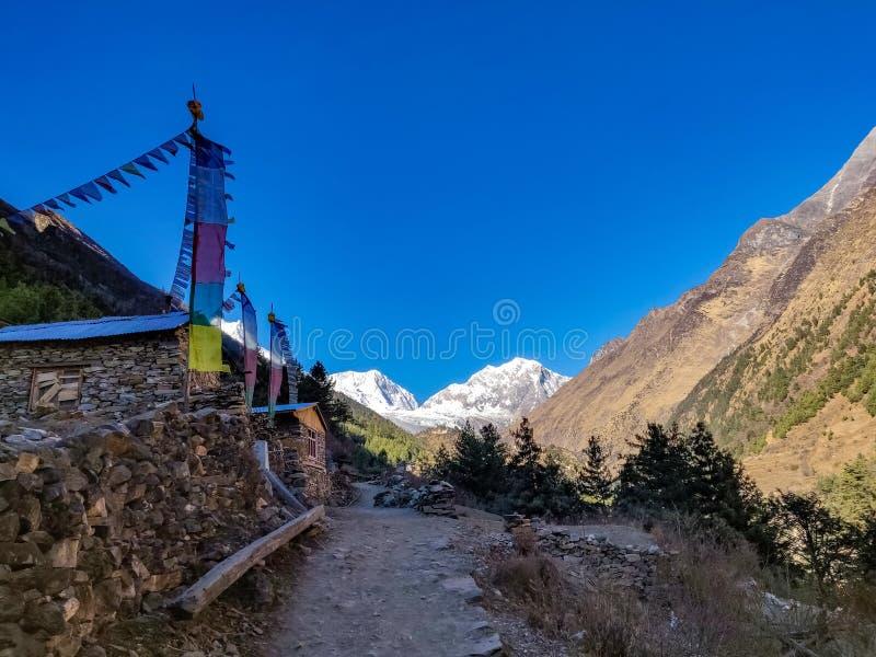 Drapeaux de l'Himalaya et de la prière image libre de droits