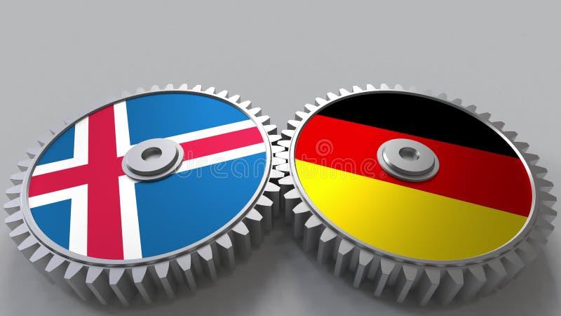 Drapeaux de l'Islande et de l'Allemagne sur les vitesses de maillage Rendu 3D conceptuel de coopération internationale illustration de vecteur