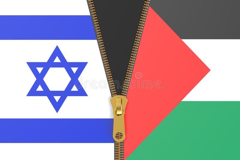 Drapeaux de l'Israël et de la Palestine illustration stock