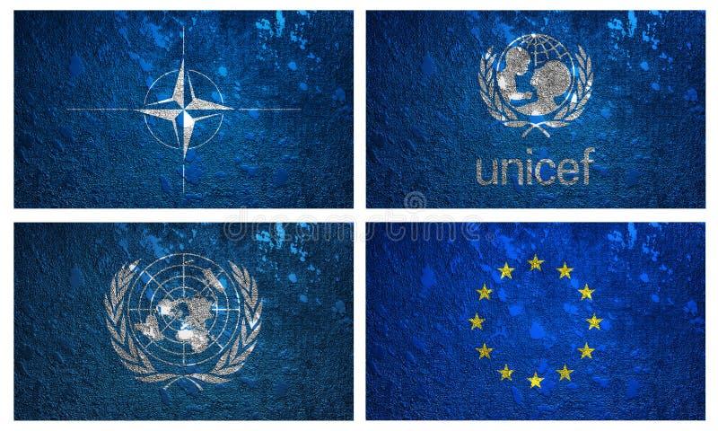 Drapeaux de l'UNICEF, de l'OTAN, de nation unie et d'EURO illustration de vecteur
