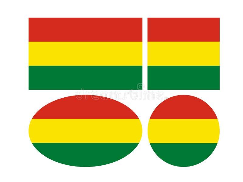 Drapeaux de la Bolivie - état plurinational de la Bolivie illustration de vecteur
