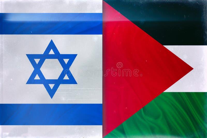 Drapeaux de la Palestine et de l'Israël photographie stock