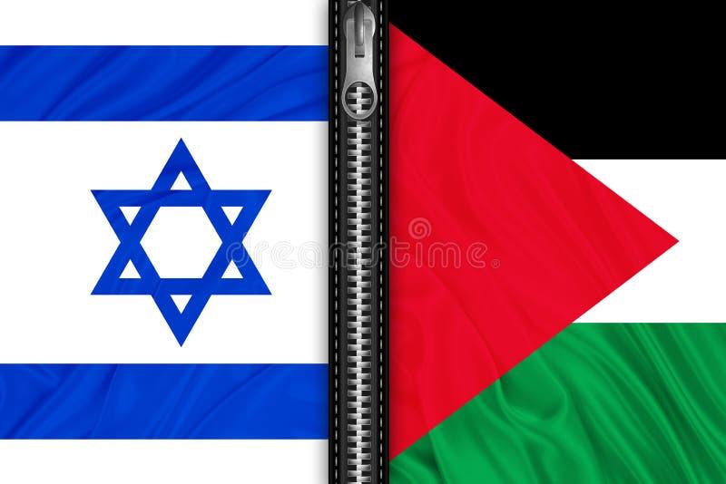 Drapeaux de la Palestine et de l'Israël illustration stock