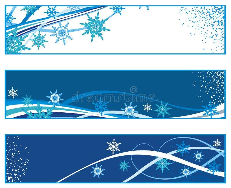 Drapeaux de Noël avec des flocons de neige illustration de vecteur