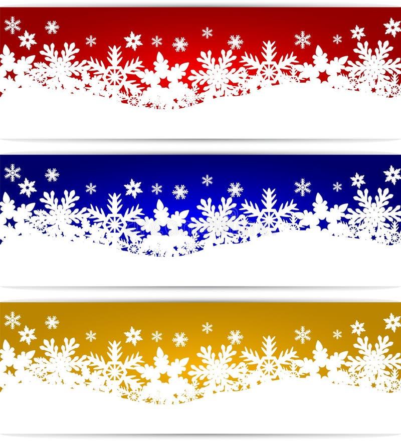 Drapeaux de Noël avec des flocons de neige illustration stock