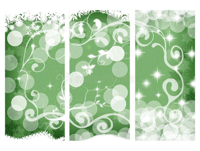 Drapeaux de Noël, verts illustration de vecteur