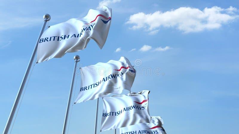 Drapeaux de ondulation avec le logo de British Airways contre le ciel, rendu 3D éditorial illustration de vecteur