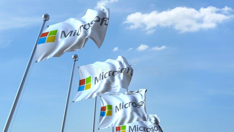 Drapeaux de ondulation avec le logo de Microsoft contre le ciel, rendu 3D éditorial illustration libre de droits