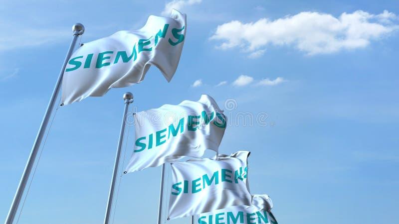 Drapeaux de ondulation avec le logo de Siemens contre le ciel, rendu 3D éditorial illustration de vecteur