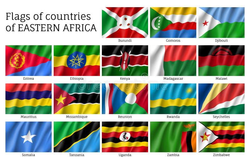 Drapeaux de ondulation d'Afrique de l'Est illustration libre de droits