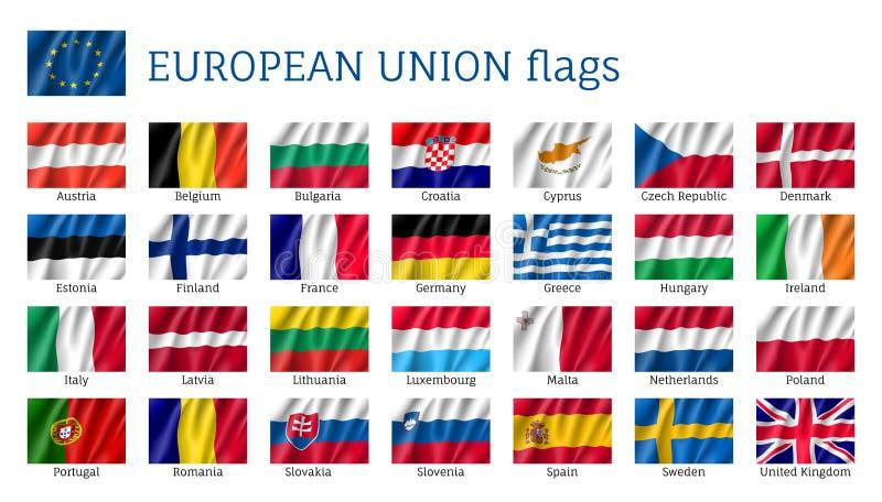 Drapeaux de ondulation d'Union européenne illustration de vecteur
