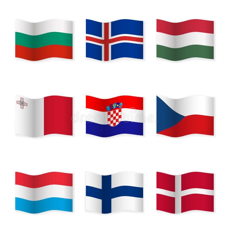 Drapeaux de ondulation des différents pays 6 illustration de vecteur