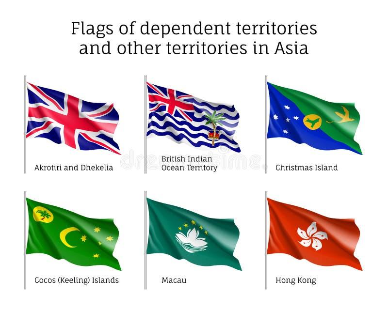 Drapeaux de ondulation des territoires non autonomes illustration libre de droits