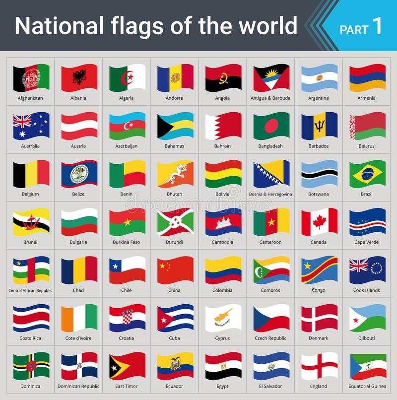Drapeaux de ondulation du monde Collection de drapeaux - ensemble complet des drapeaux nationaux illustration stock