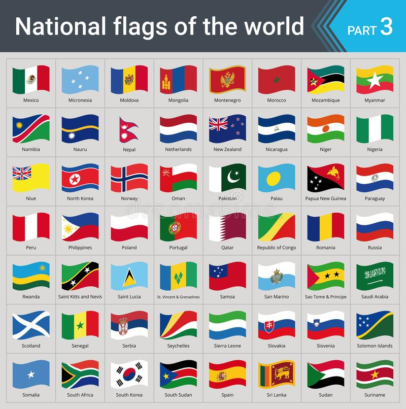 Drapeaux de ondulation du monde Collection de drapeaux - ensemble complet des drapeaux nationaux illustration de vecteur