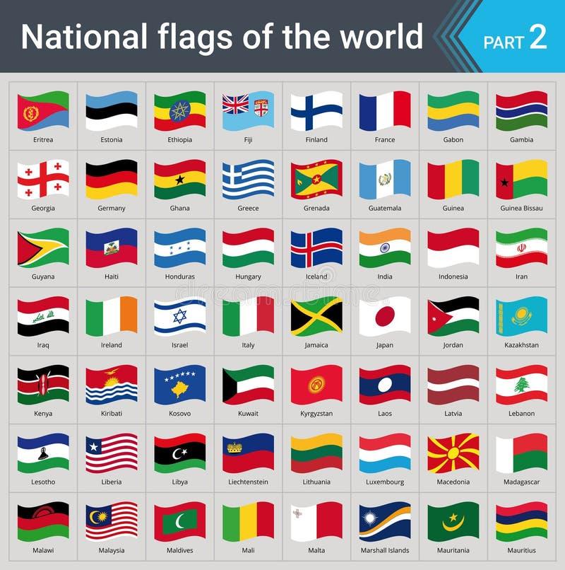 Drapeaux de ondulation du monde Collection de drapeaux - ensemble complet des drapeaux nationaux illustration libre de droits