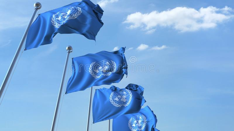 Drapeaux de ondulation de l'ONU des Nations Unies contre le ciel rendu 3d illustration stock