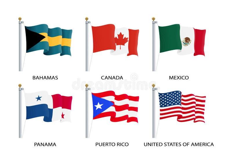 Drapeaux de ondulation réalistes de continent de l'Amérique du Nord Les Etats-Unis, Canada, Bahamas, Mexique, Panama, drapeau de  illustration libre de droits
