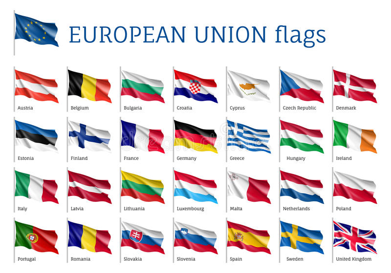 Drapeaux de ondulation réglés d'UE illustration de vecteur