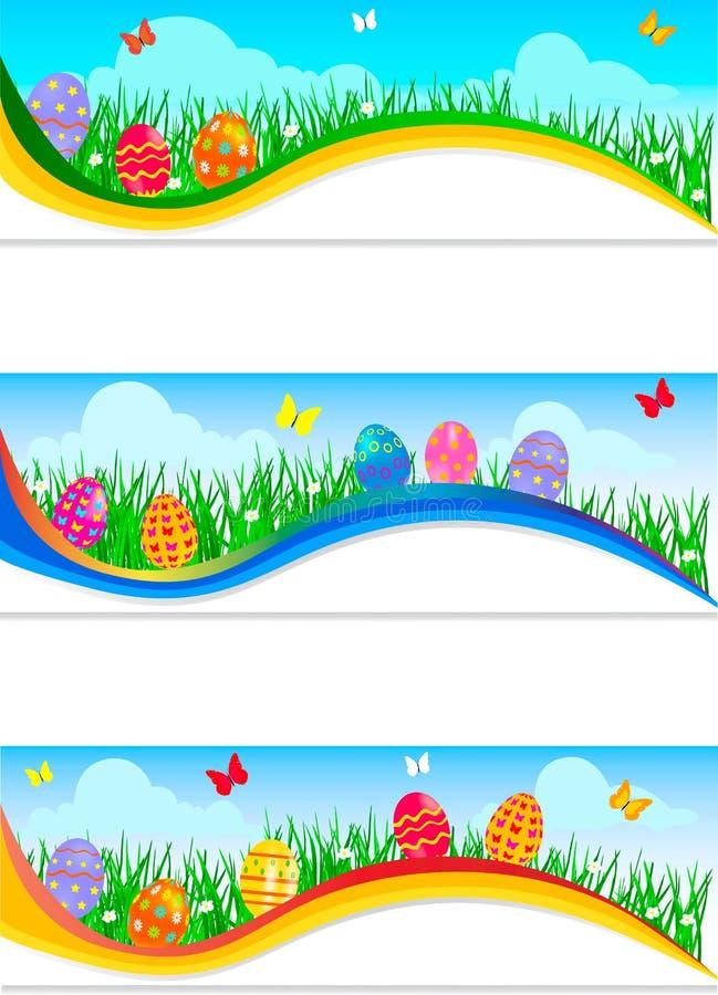 Drapeaux de Pâques avec les oeufs de pâques colorés illustration de vecteur