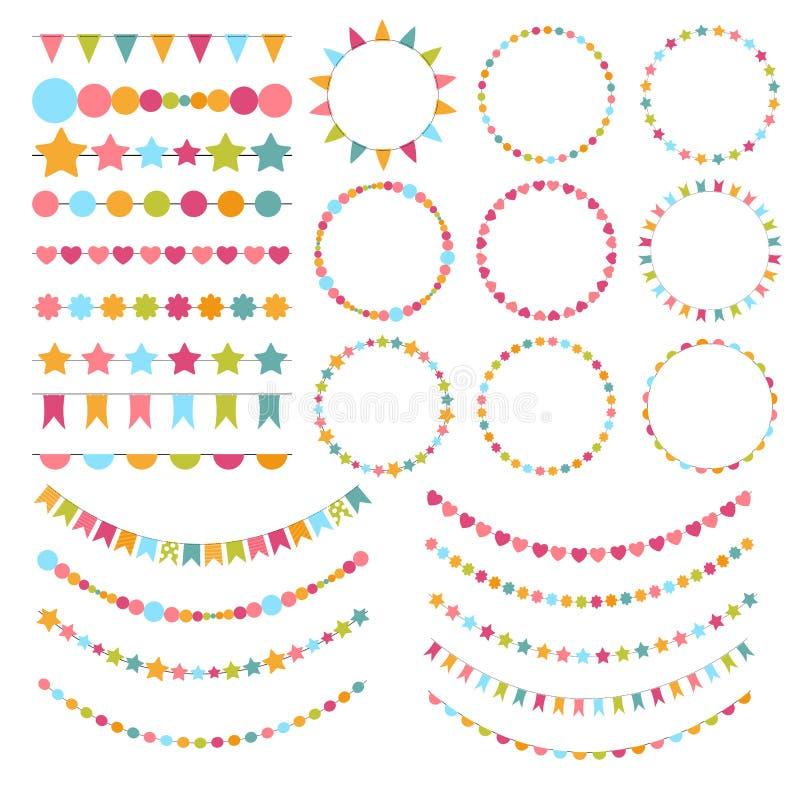Drapeaux de partie, étamines, brosses pour créer une invitation de partie illustration libre de droits