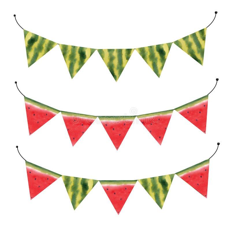Drapeaux de pastèque d'aquarelle illustration de vecteur