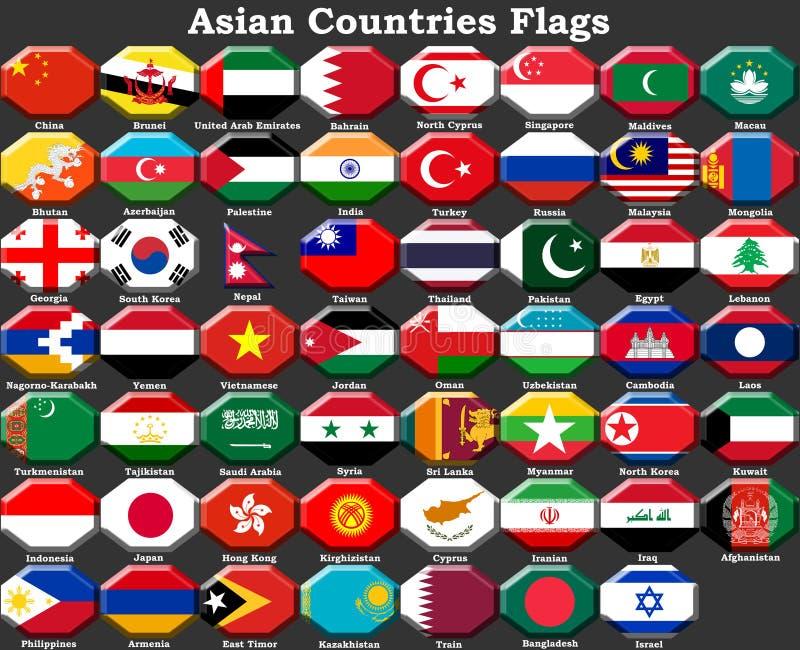 Drapeaux de pays asiatiques, continent asiatique illustration stock