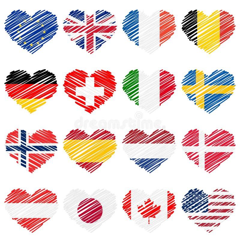 drapeaux de pays de coeurs de griffonnage illustration stock