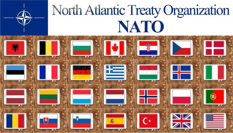 Drapeaux de pays de l'OTAN illustration libre de droits