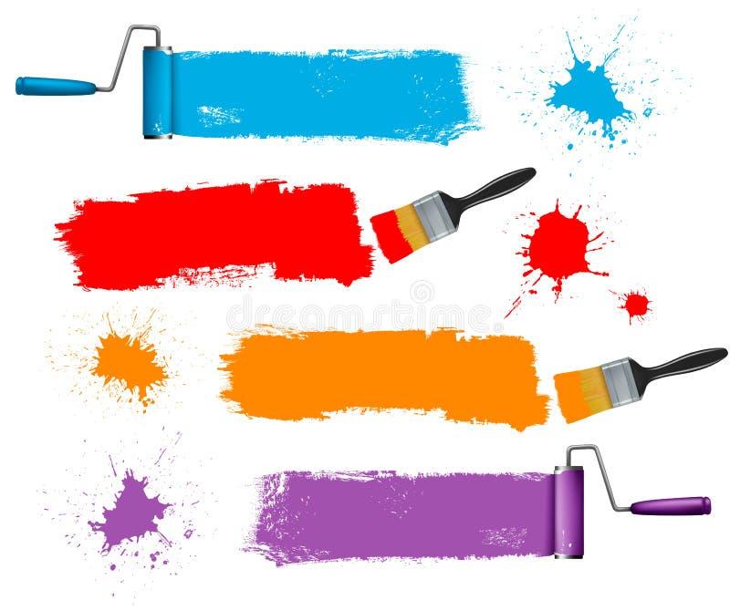 Drapeaux de rouleau de pinceau et de peinture et de peinture. illustration de vecteur
