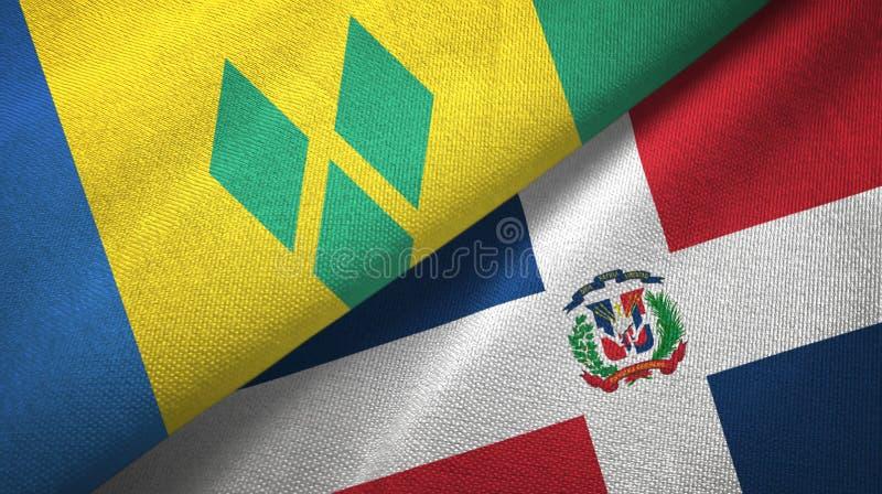 Drapeaux de Saint-Vincent-et-les-Grenadines et de la République Dominicaine deux illustration libre de droits