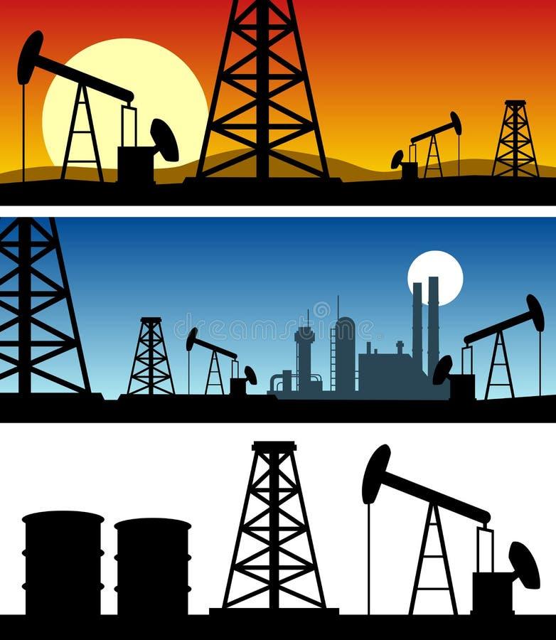 Drapeaux de silhouette de raffinerie de pétrole illustration libre de droits