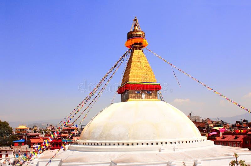 Drapeaux de stupa et de prière de Bodnath à Katmandou, Népal photos libres de droits