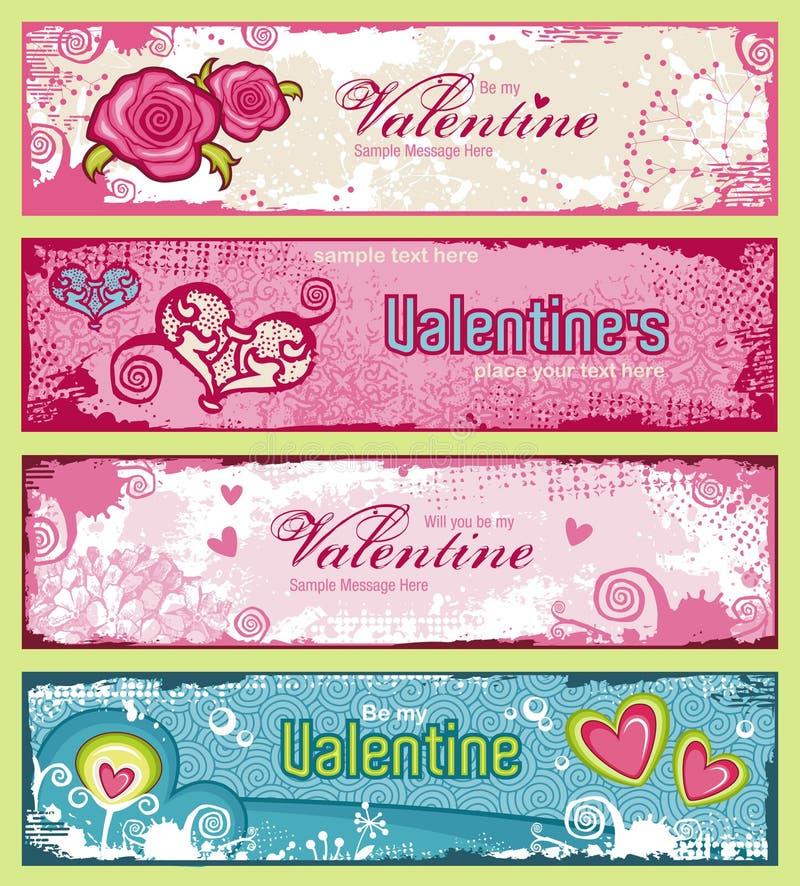 Drapeaux de Valentines illustration de vecteur