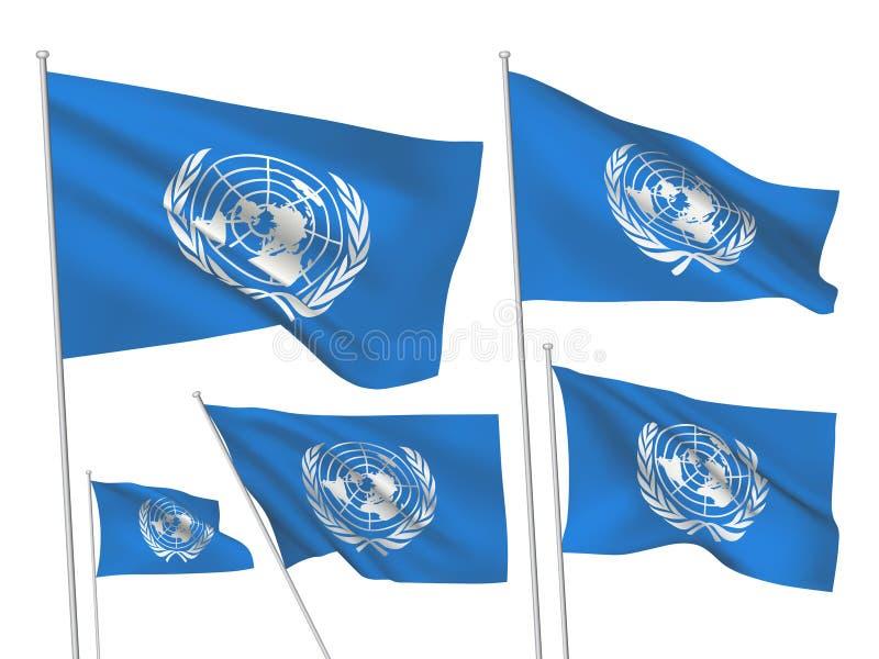 Drapeaux de vecteur d'organisation des Nations Unies illustration libre de droits