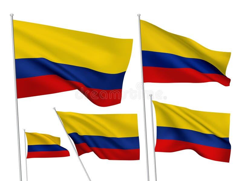 Drapeaux de vecteur de la Colombie illustration de vecteur
