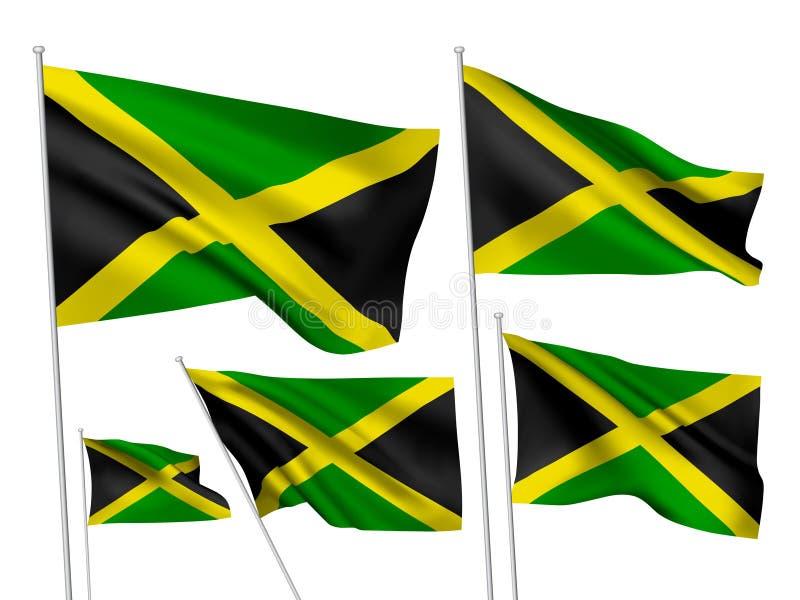 Drapeaux de vecteur de la Jamaïque illustration stock