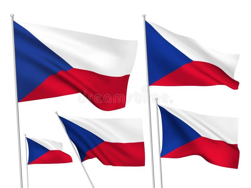Drapeaux de vecteur de République Tchèque illustration de vecteur