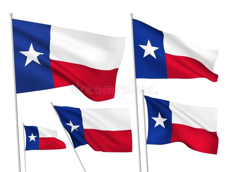 Drapeaux de vecteur des Etats-Unis le Texas illustration stock