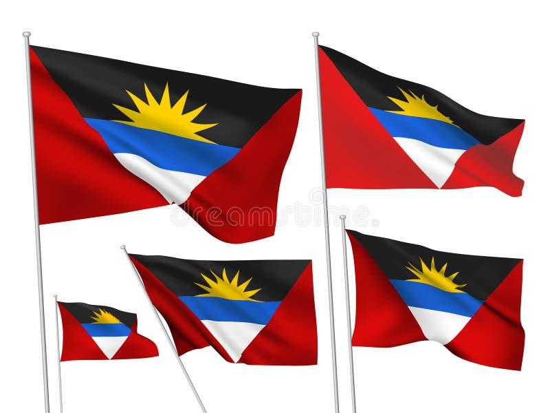 Drapeaux de vecteur de l'Antigua-et-Barbuda illustration stock