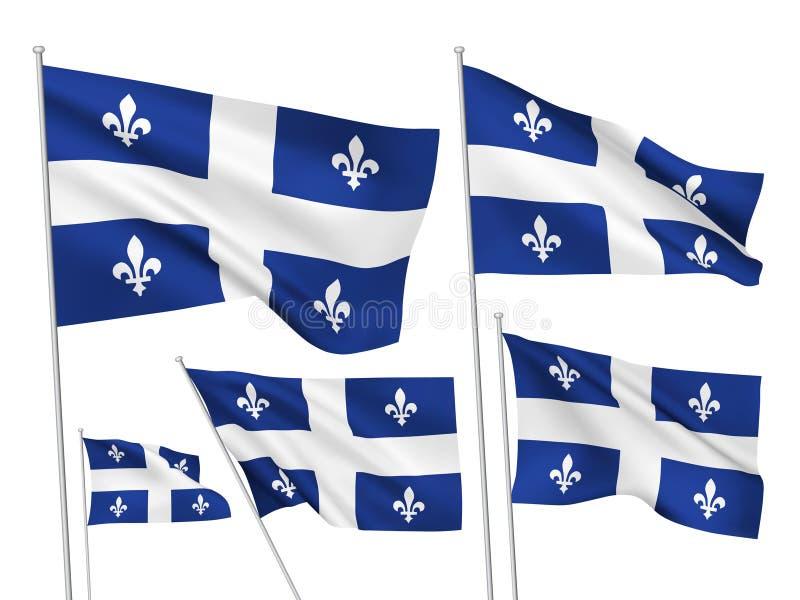 Drapeaux de vecteur de province du Québec de Canada illustration stock