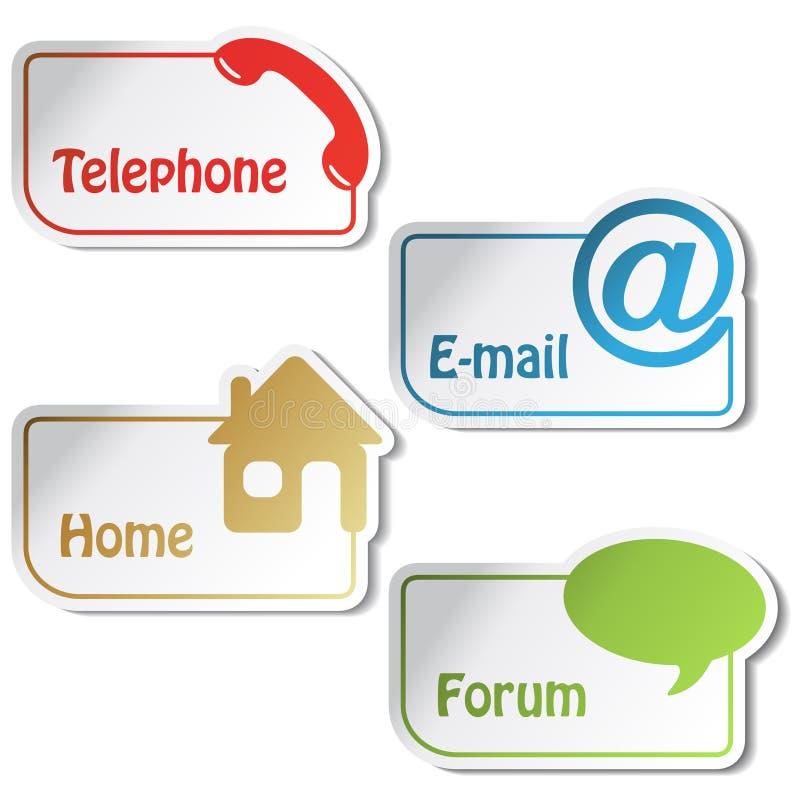 Drapeaux de vecteur - téléphone, email, maison, forum illustration stock