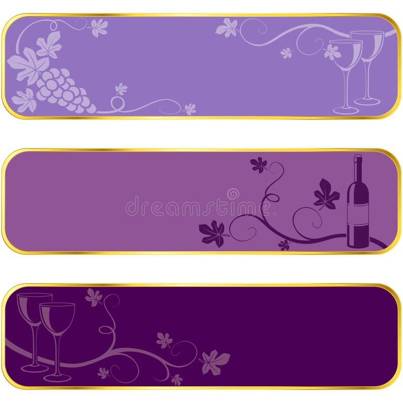 Drapeaux de vin avec le RIM d'or illustration de vecteur