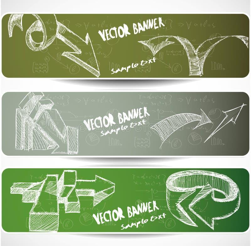 Drapeaux de Web avec les flèches peu précises tirées par la main illustration libre de droits