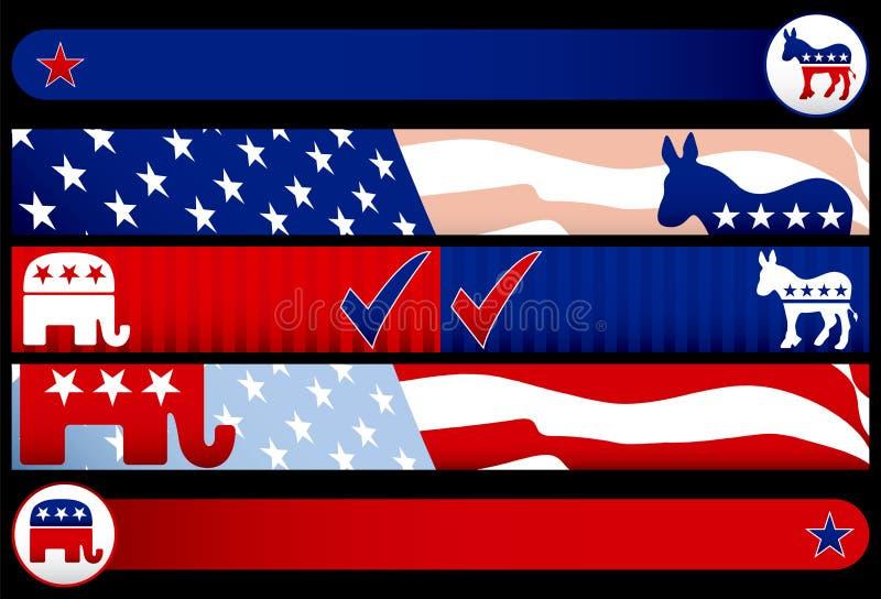 Drapeaux de Web d'élection illustration de vecteur