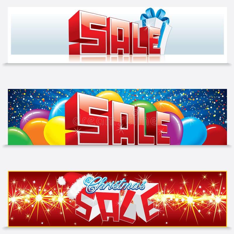 Drapeaux de Web de vente de Noël illustration stock