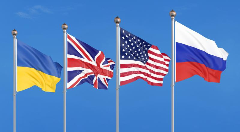 Drapeaux des Etats-Unis d'Amérique, du Royaume-Uni, de la Russie, et de l'Ukraine Mémorandum de Budapest sur des assurances de sé illustration libre de droits