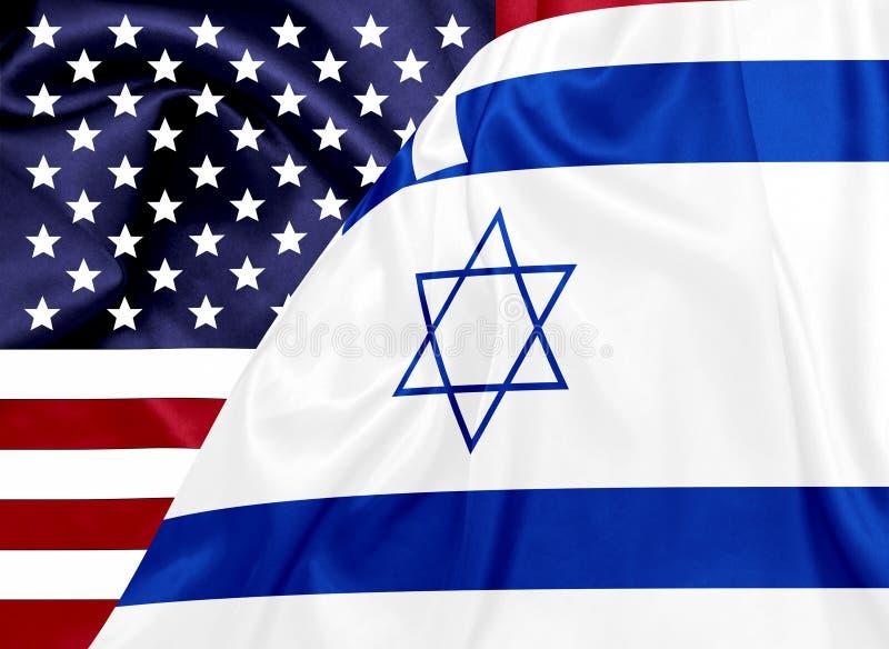 Drapeaux des Etats-Unis et de l'Israël sur la texture en soie illustration libre de droits