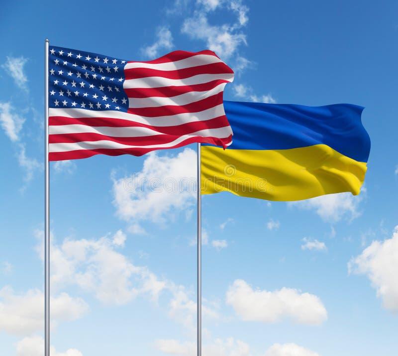 Drapeaux des Etats-Unis et de l'Ukraine photo libre de droits
